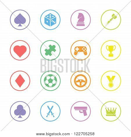 colorful flat game icon set with circle frame for web design user interface (UI) infographic and mobile application (apps)