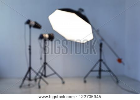 Equipment for photo studios and fashion photography. Blurred. poster