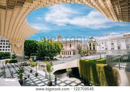 Seville, Spain - June 24, 2015: Metropol Parasol is a wooden structure located Plaza de la Encarnacion square, in old quarter of Seville, Spain