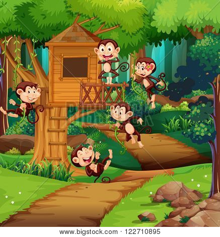 Monkeys playing at the treehouse illustration