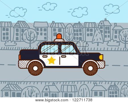 Police car in the city. Vector illustration