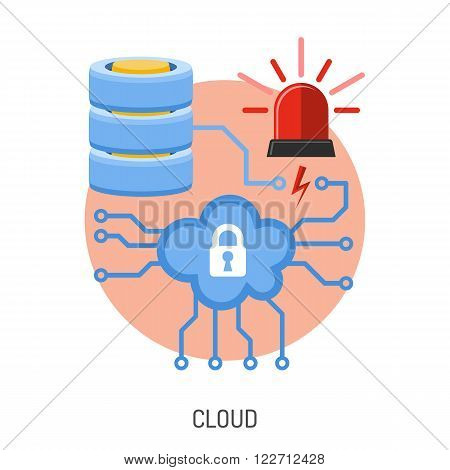 Internet Security and Cyber Crime Concept with Flat Icon Like Cloud, Database and Flasher. Vector for Flyer, Poster, Web Site and Printing Advertising.