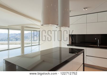 Interior, wide open space, hob of a modern kitchen