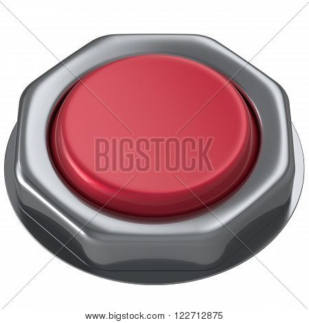 Button red push down activate power switch start turn on off action ignition electric design element metallic shiny blank. 3d render