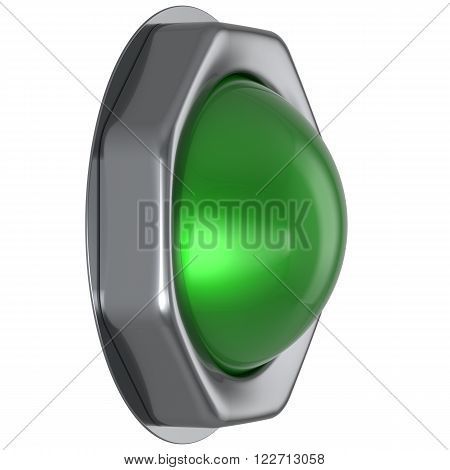 Button green start turn off on action push down activate ignition positive power switch design element metallic shiny blank