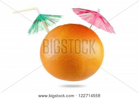 Concept Diet and healthy eating. Grapefruit with drinking straw and umbrella isolated on white