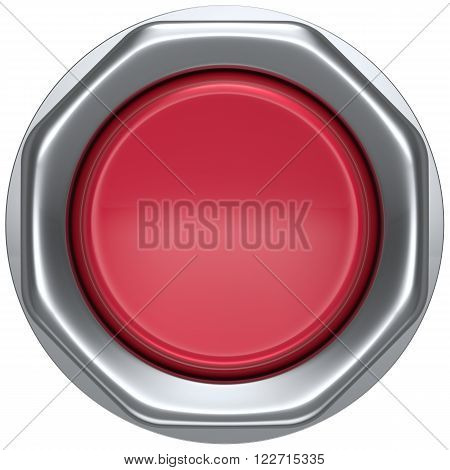 Button red start turn on off action push down activate power switch ignition electric military order design element metallic shiny blank