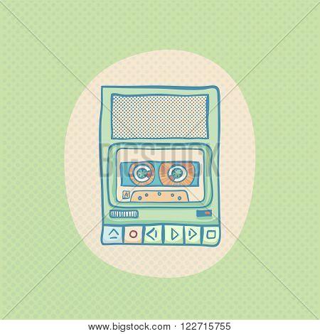 Cassette tape recorder. Handheld tape recorder, hand drawn retro illustration with halftone. Suitable for banner, ad, t-shirt design. Vintage design element