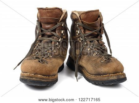 Old boots used isolated on white background