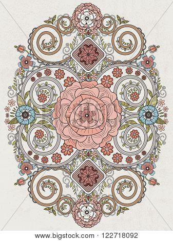 Romantic Floral Coloring Page
