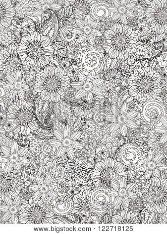Flourish Floral Coloring Page