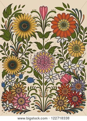 Retro Floral Coloring Page