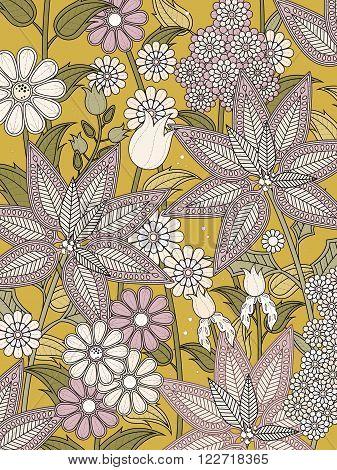 Elegant Floral Coloring Page I