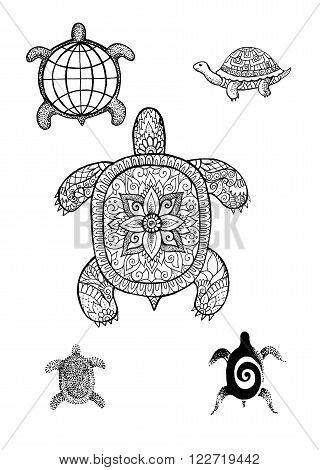 Set turtle illustration hand drawing tattoo logo