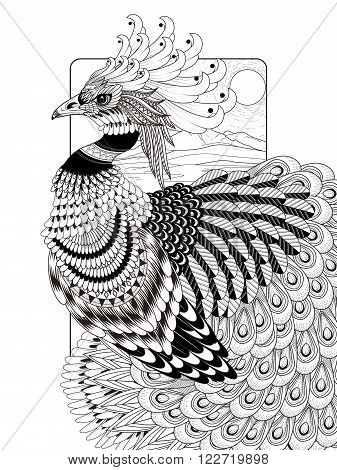 sumptuous peacock coloring page in exquisite line