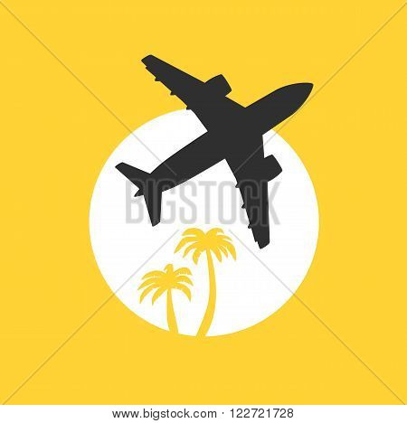 Vector illustration, jet airplane takeoff at dawn with palm trees. Travel and air transportation concept.