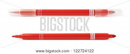 Felt-tip red pen marker isolated over the white background
