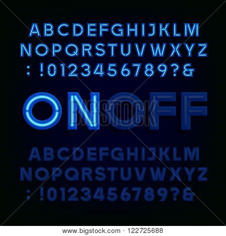 Blue Neon Light Alphabet Font. Two different styles. Lights on or off. Type letters, numbers and symbols. Vector typography for animation, labels, titles, posters etc.