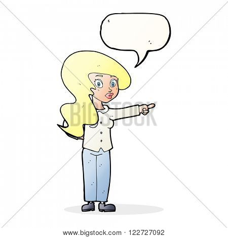 cartoon pretty woman pointing with speech bubble