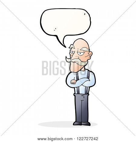 cartoon bored old man with speech bubble