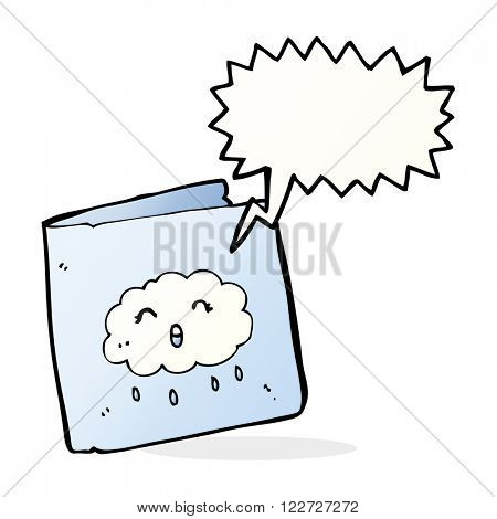 cartoon card with cloud pattern with speech bubble