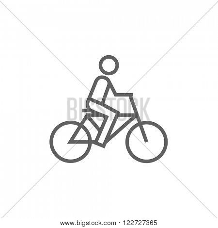 Man riding bike line icon.
