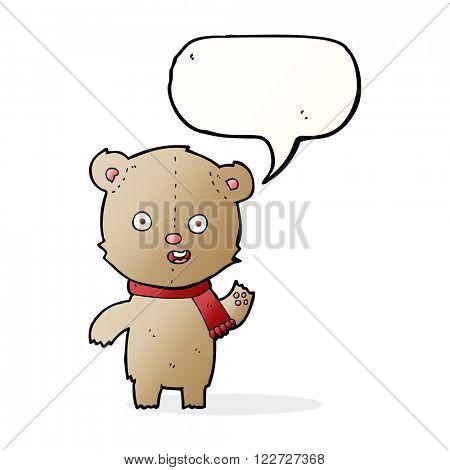 cartoon waving teddy bear with scarf with speech bubble