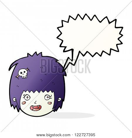 cartoon happy vampire girl face with speech bubble