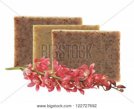 bars of natural soap with dried herbs and flower isolated on white background