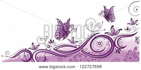 Pink and purple flowers with butterflies, floral vector decoration.