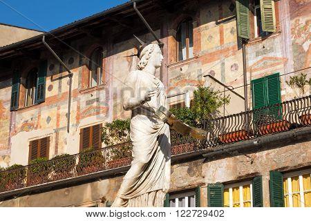 Madonna Verona 300-1368 b.C. - Veneto Italy / Detail of the fountain of Madonna Verona in Piazza delle Erbe, Verona, Veneto, Italy (UNESCO heritage)