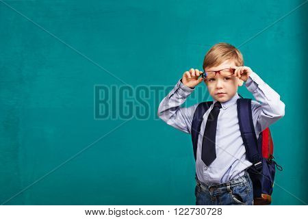 Little Boy In Eyeglasses With Big Backpack