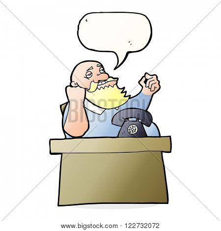 cartoon arrogant boss man with speech bubble