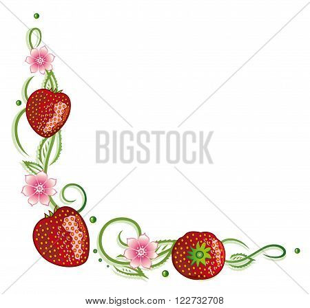 Filigree tendril with leaves, flowers and strawberries.