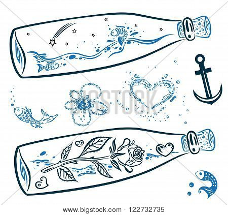 Send a message in the bottle, vector set.