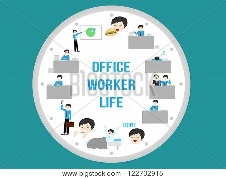office worker life , routine on blue background