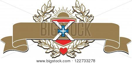 Vector richly and magnific decorated banner with the image of a laurel wreath sunrise shield cross and heart.