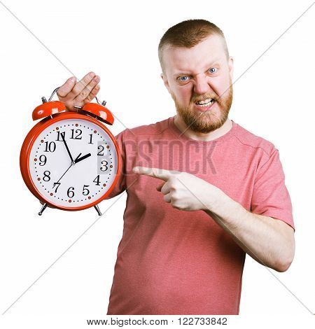 Disgruntled man holding a big red alarm clock poster