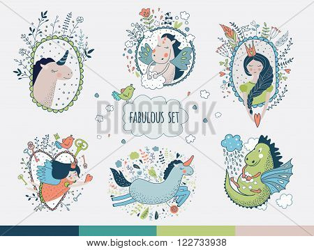 Cute magic collection with unicorn prinsess gragon rainbow fairy wings. Dream Spring illustration Fairytale design for your love card invitation children or wedding DIY.Vector isolated illustration on white.