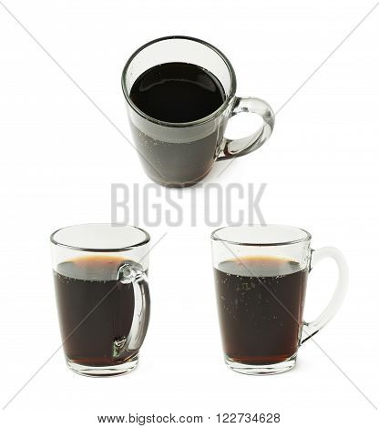 Glass mug filled with cola drink isolated over the white background, set of three different fore shortenings