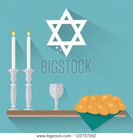 Shabbat candles kiddush cup and challah in flat style.
