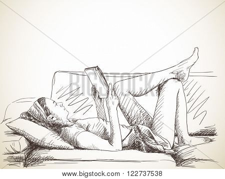 Sketch of woman lying on sofa while reading book, Hand drawn illustration