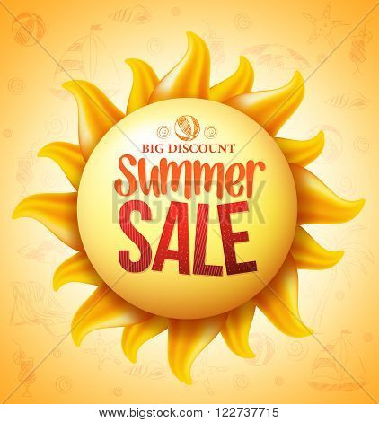 3D Realistic Yellow Sun with Summer Sale Discount Text with Yellow Pattern in Background for Summer Seasonal Promotion