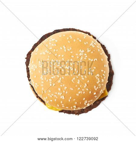 Fresh cooked hamburger isolated over the white background, top view above foreshortening