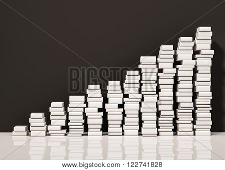 Piles of whiite book step rising up, 3d rendered