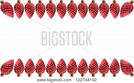 Red Pine Cone Christmas Decoration Frame