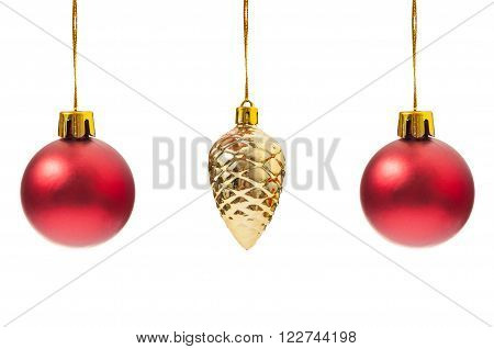 Red Globes And One Christmas Pine Cone Decoration