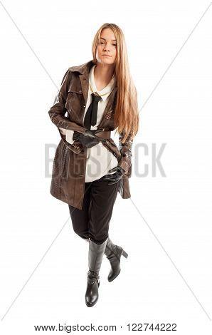 Long Hair Female Model Posing On Studio Background