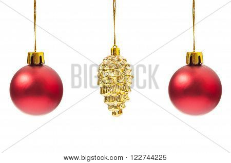 Three Christmas Globes Hanging