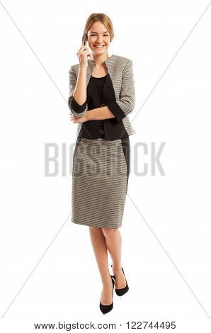 Young And Beautiful Business Woman Talking On The Phone